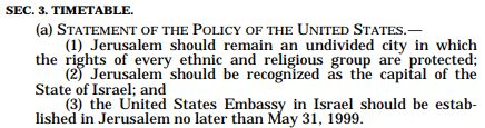 Jerusalem Embassy Act - 3 Stipulations