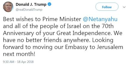 Trump - Happy 70th to Israel
