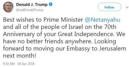 Trump - Happy 70th to Israel